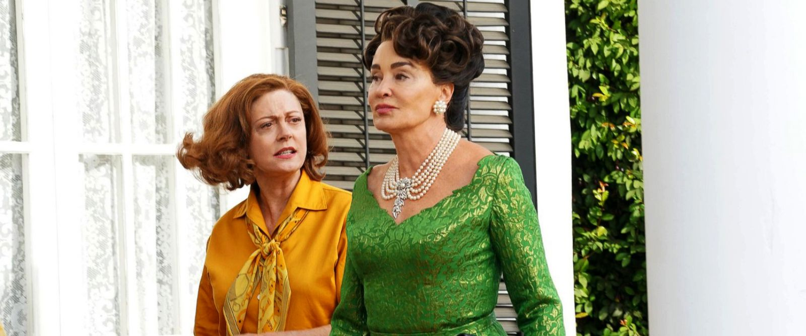 "PHOTO: Susan Sarandon, as Bette Davis, left, and Jessica Lange, as Joan Crawford, in a scene from the FX series, ""Feud."""