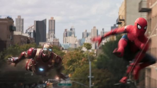 PHOTO: Tom Holland is seen here as Spider-Man and Robert Downey Jr. as Iron Man in the trailer for