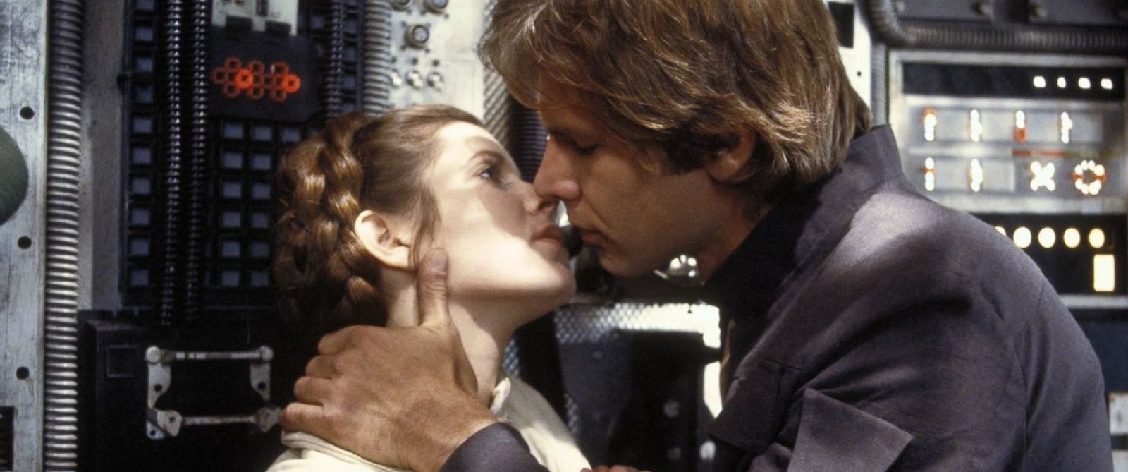 """PHOTO: Carrie Fisher and Harrison Ford in a scene from """"The Empire Strikes Back,"""" 1980."""