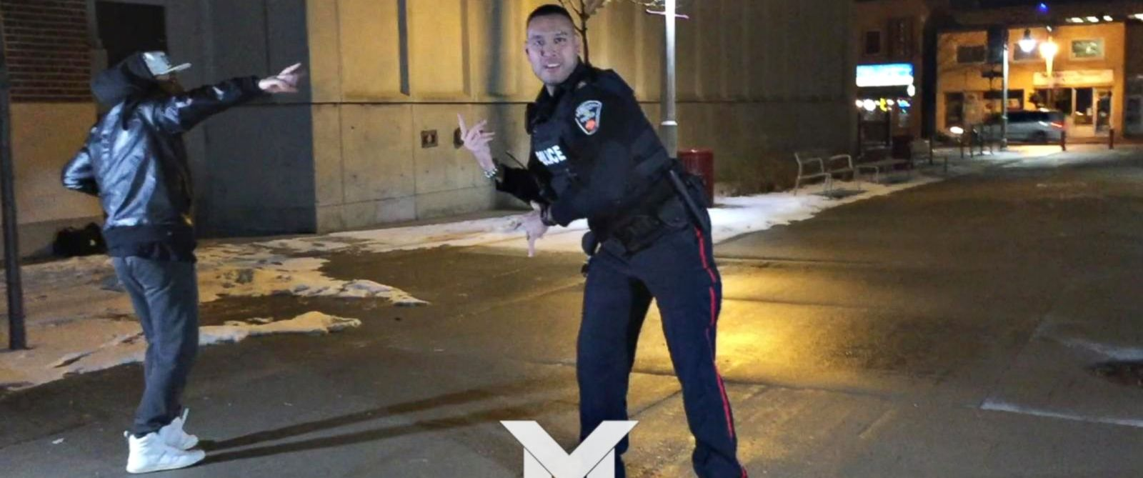 PHOTO: Police officer Jarrod Singh thought he was being called to break up a fight instead found himself in the middle of a music video shoot and showed off his own dance skills.