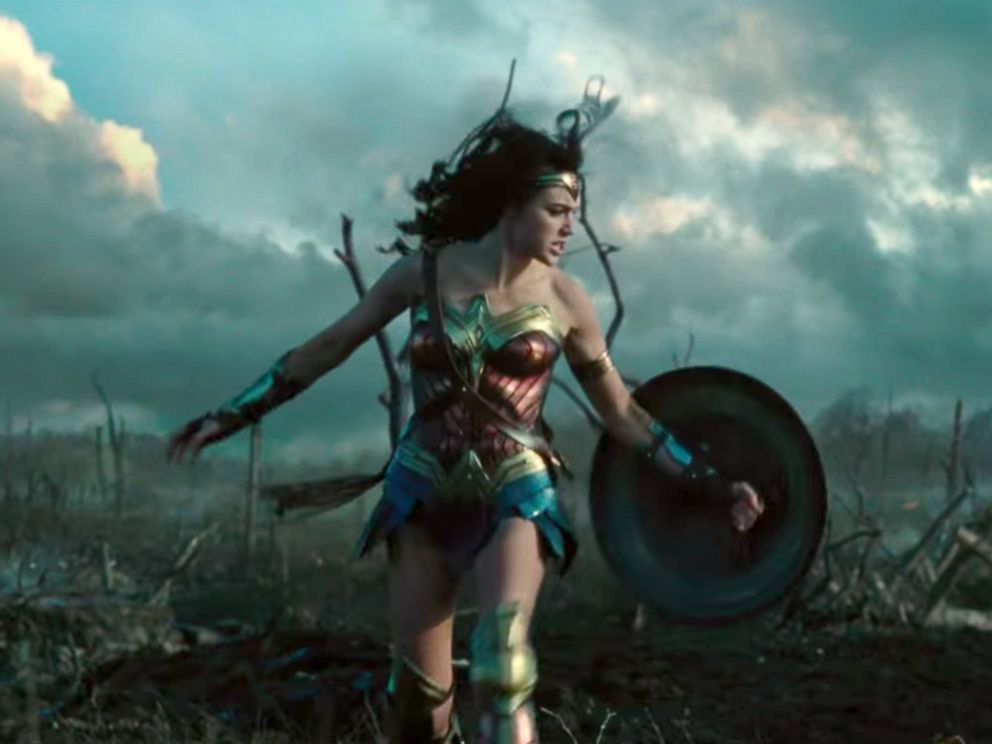 Wonder Woman in a scene from the first theatrical trailer for Wonder Woman