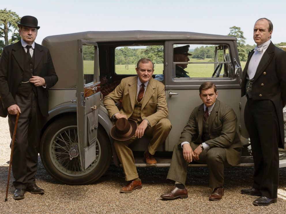 PHOTO: Shown from left to right: Brendan Coyle as Bates, Hugh Bonneville as Lord Grantham, Allen Leech as Tom Branson, and Kevin Doyle as Molesley in the series, Downton Abbey on MASTERPIECE on PBS. <p itemprop=