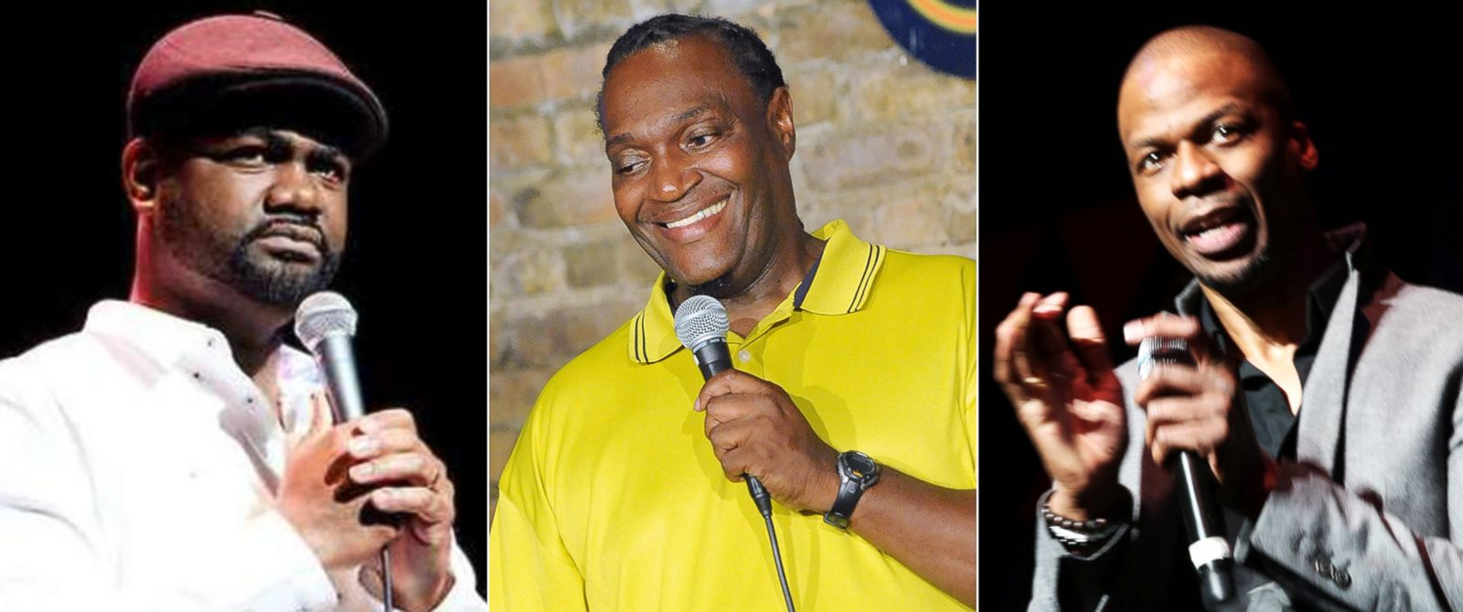 PHOTO: (L-R) Harris Stanton is shown in a photo from his Facebook, Jimmy Mack performs at The Stress Factory Comedy Club in New Brunswick, N.J., Aug. 31, 2013 and Ardie Fuqua performs at Hot 97s April Fools Comedy Show in New York City, April 1, 2013.