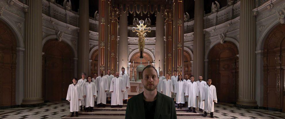 "PHOTO: Bobby Halvorson and church choir singing ""Hallelujah"" inside St. Ignatius Church in San Francisco, California."