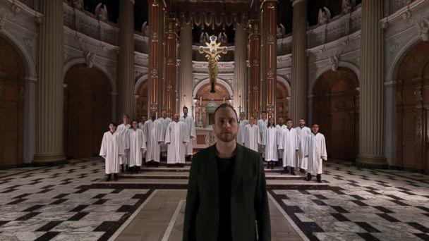 PHOTO: Bobby Halvorson and church choir singing