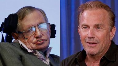 PHOTO: Stephen Hawking during a press conference in London, Dec. 2, 2014. |Kevin Costner appears on Jimmy Kimmel Live, Jan. 27, 2015.