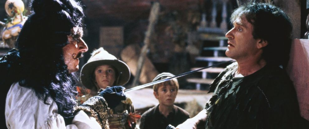 """PHOTO: Dustin Hoffman and Robyn Williams in a scene from the movie, """"Hook"""" in 1991."""