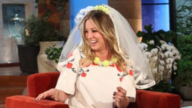 "PHOTO: Newly engaged actress Kaley Cuoco makes an appearance on ""The Ellen DeGeneres Show"" on Nov. 7, 2013."