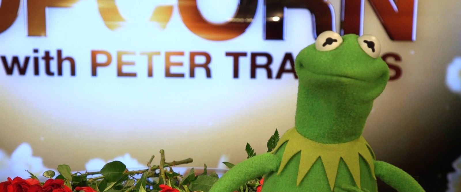 PHOTO: Kermit the Frog on the set of Popcorn with Peter Travers.