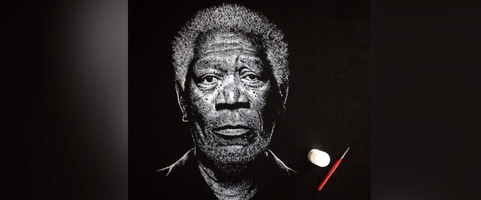 PHOTO: Brian Owens, of West Hartford, Conn., created a portrait of actor Morgan Freeman using salt.