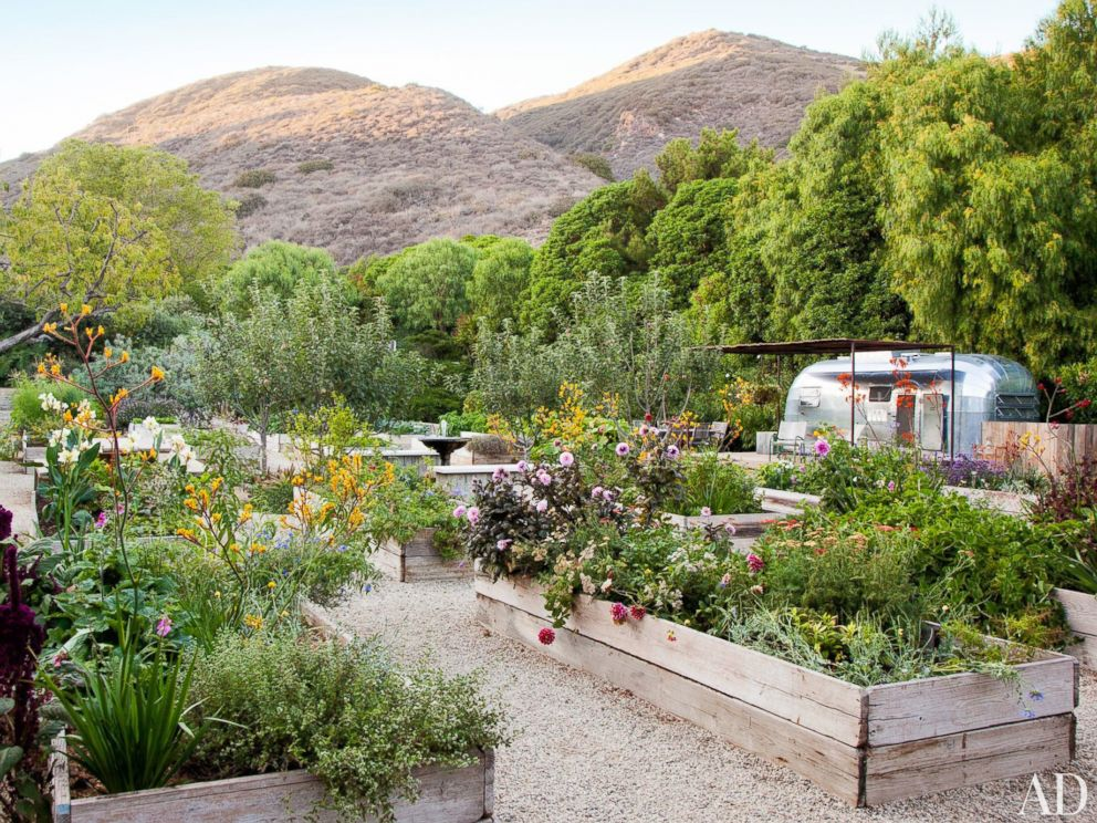 PHOTO: The Demseys garden, complete with an Airstream trailer.