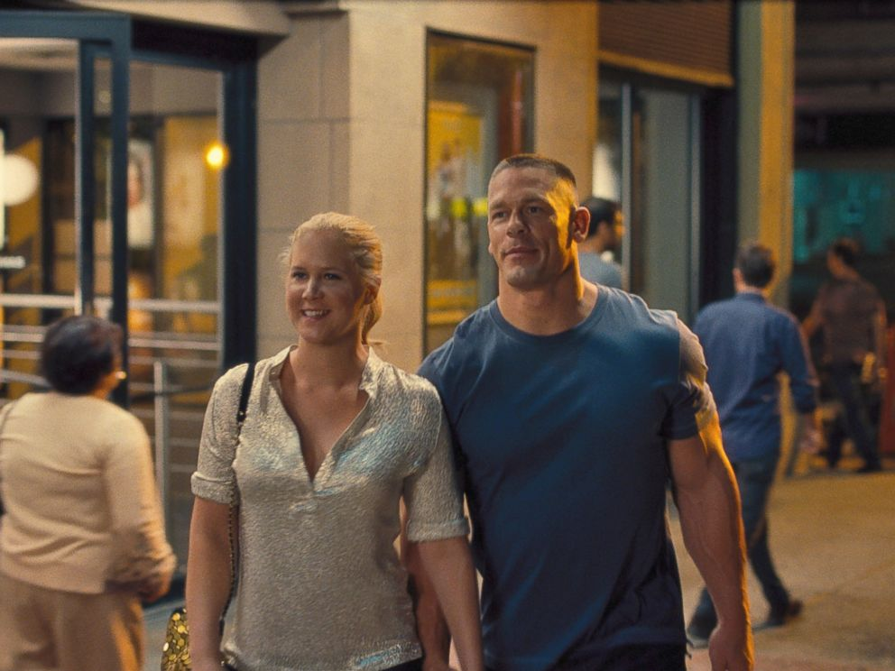 PHOTO: Amy (AMY SCHUMER) is on a date with Steven (JOHN CENA) in Trainwreck, the new comedy from director/producer Judd Apatow that is written by and stars Schumer as a woman who lives her life without apologies, even when maybe she should apologize.
