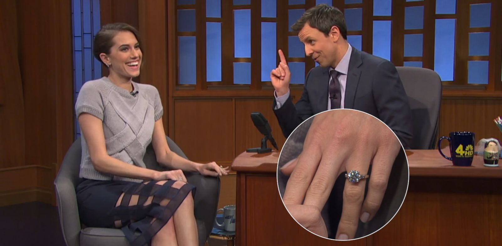 PHOTO: Allison Williams talks to Seth Myers about her engagement on Late Night with Seth Meyers, March 4, 2014.