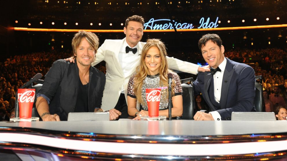 """PHOTO: Keith Urban, Ryan Seacrest, Jennifer Lopez, and Harry Conicck, Jr, on """"American Idol"""" season 13 at the Nokia Theater L.A. Live."""