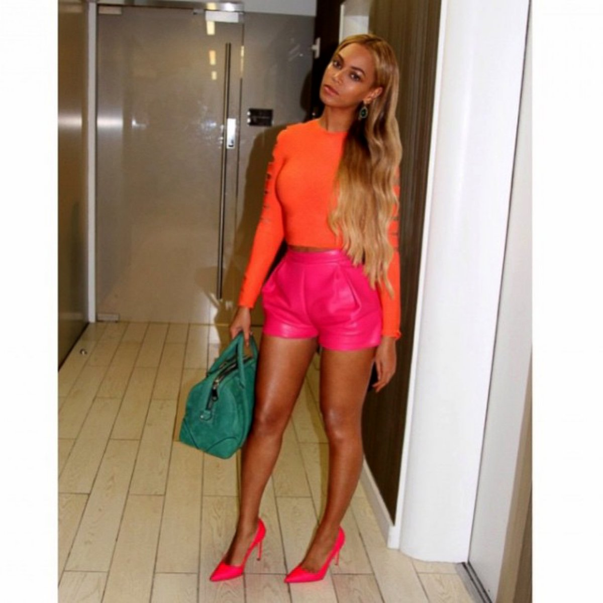 Beyonce Stuns in a Bright, Two-Toned Outfit