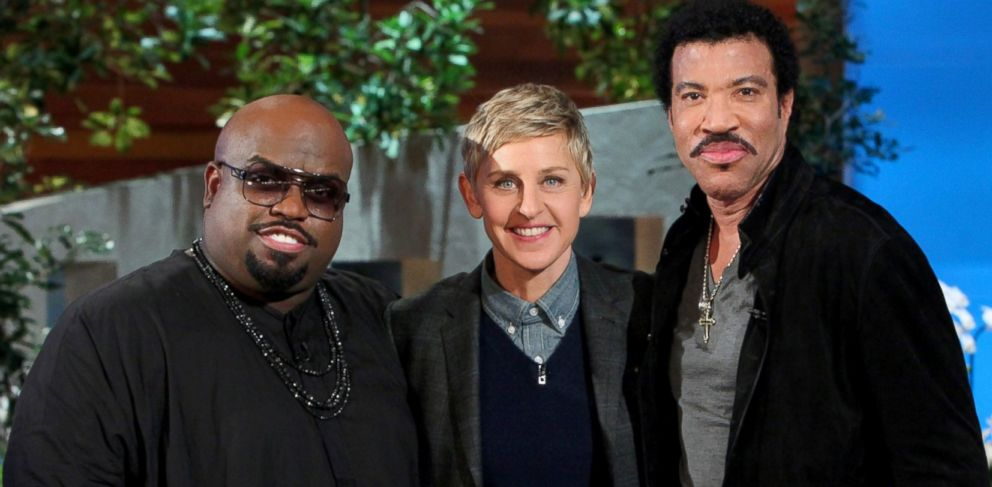 """PHOTO: Singers Lionel Richie and Ceelo Green make an appearance on """"The Ellen DeGeneres Show,"""" Feb. 19, 2014."""