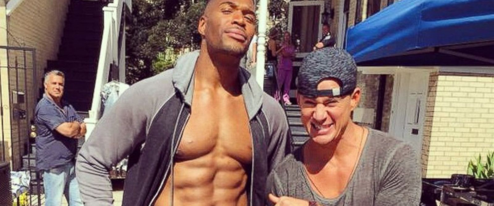 """PHOTO: Channing Tatum posted this photo on Instagram with this caption: """" #MichaelStrahan sure is looking ab-tastic on the set of #MagicMikeXXL with #ChanningTatum!"""" Oct. 21, 2014."""