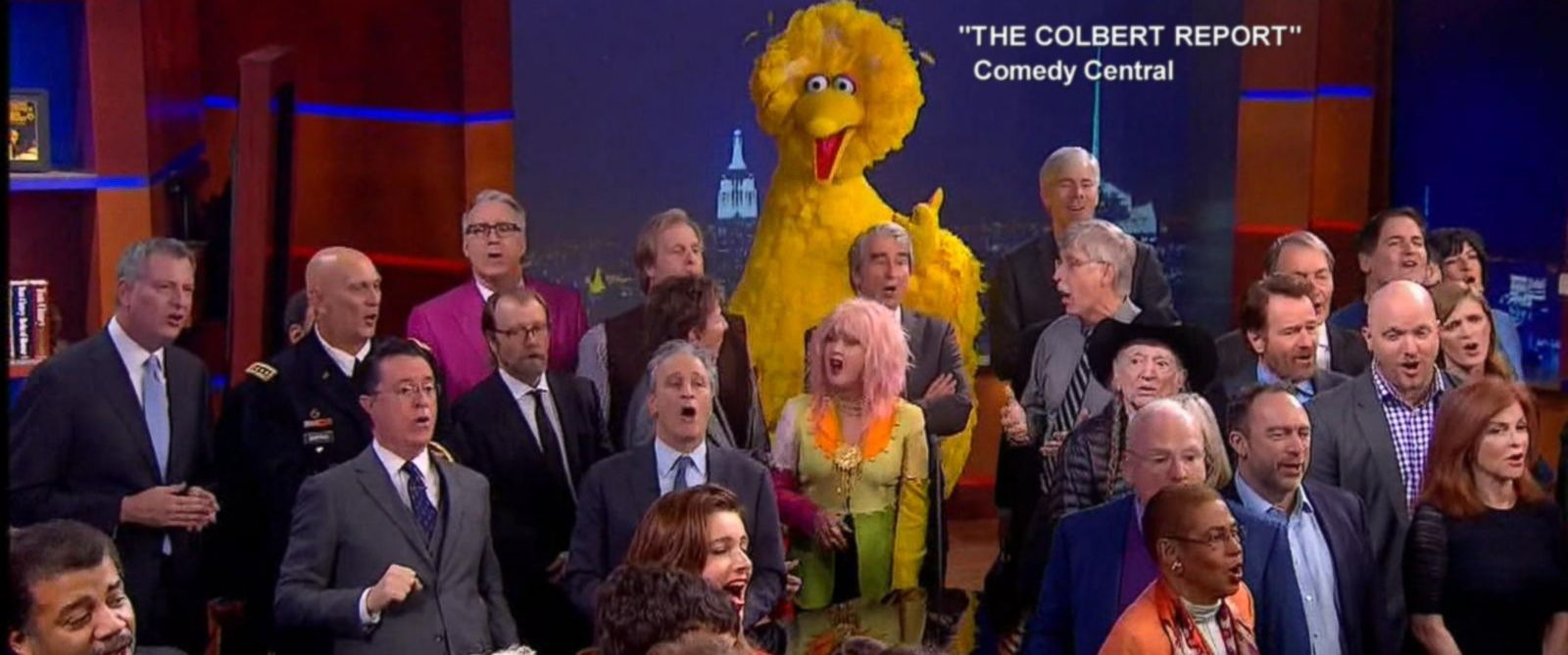 "PHOTO: Stephen Colbert was joined by numerous celebrities on the final episode of ""The Colbert Report"" on Comedy Central, Dec. 18, 2014."