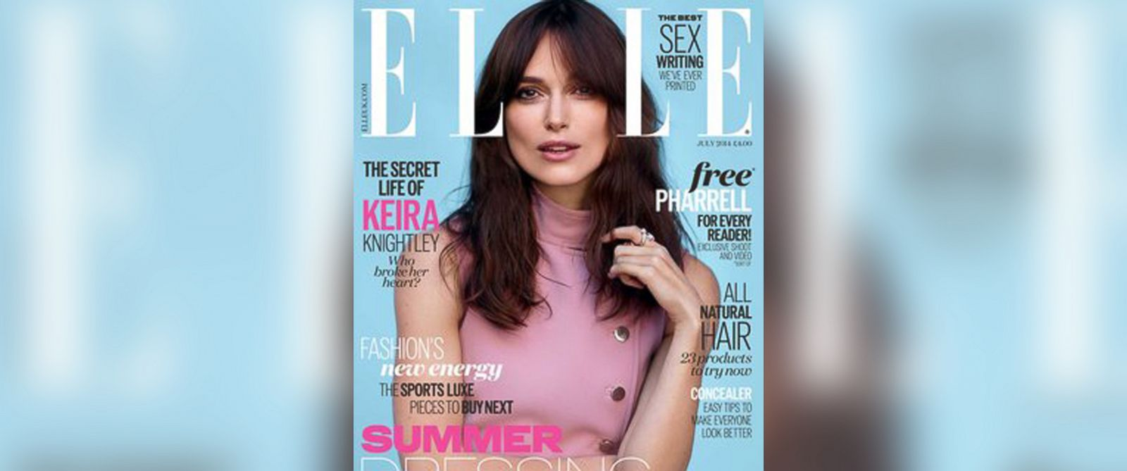 "PHOTO: Keira Knightley on the July cover of UK magazine, ""Elle""."