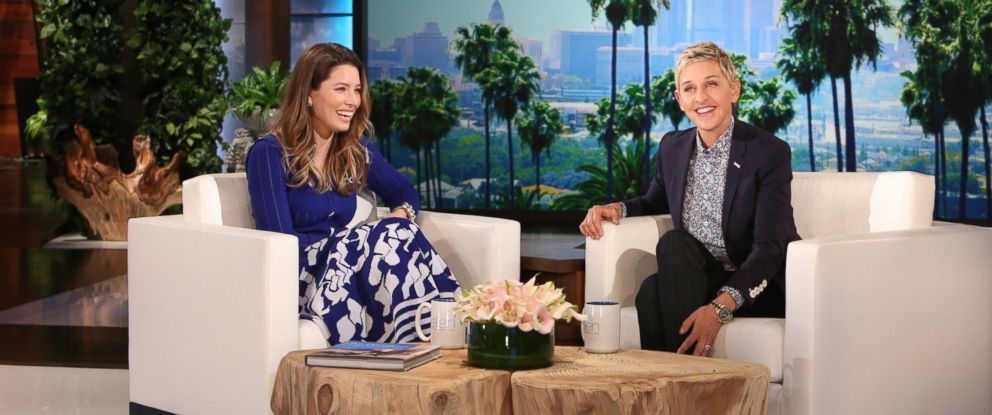 """PHOTO:Jessica Biel joins """"The Ellen DeGeneres Show"""" and talks to Ellen about her family and her new kid friendly restaurant, March 24, 2016."""
