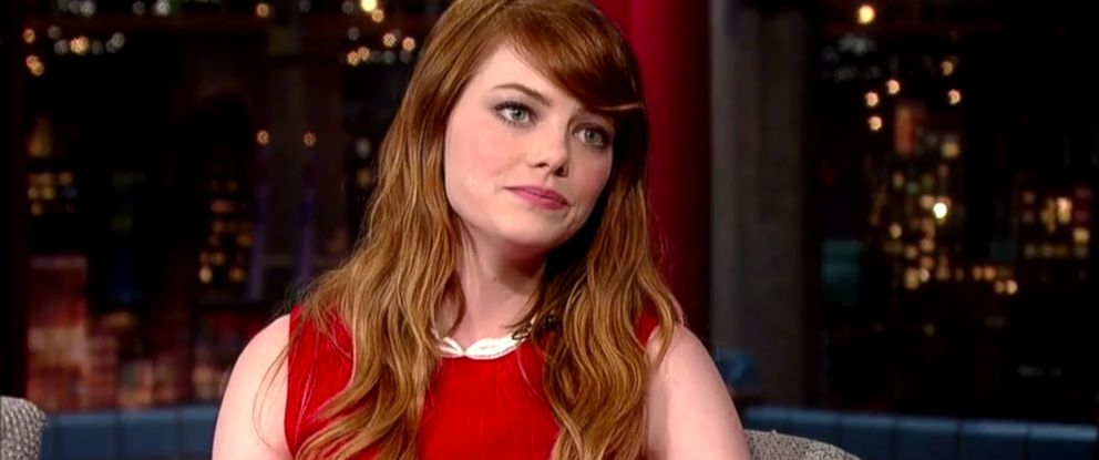 """PHOTO: Emma Stone on """"Late Show with David Letterman,"""" July 16, 2014."""