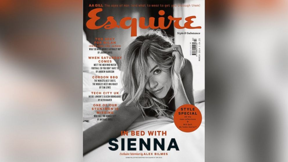 PHOTO: Sienna Miller on the cover of the March 2014 issue of Esquire UK.