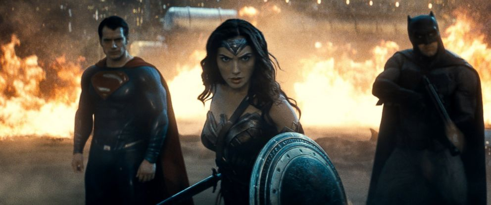 "PHOTO: Gal Gadot is seen here as Wonder Woman along with Henry Cavill as Superman and Ben Affleck as Batman in ""Batman v Superman: Dawn of Justice."""
