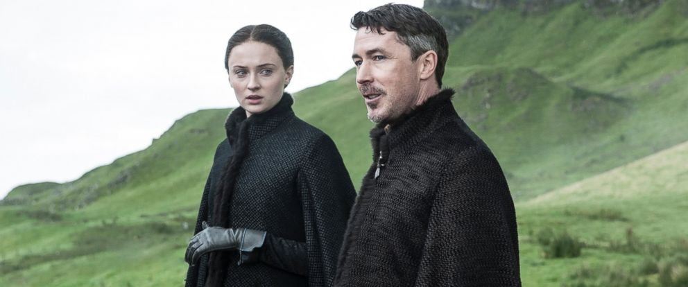 "PHOTO: Sophie Turner as Sansa Stark, left, and Aidan Gillen as Petyr Baelish in a scene from season five of ""Game of Thrones."""