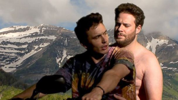 HT james franco seth rogen jef 131125 16x9 608 James Franco and Seth Rogen Spoof Kanye West and Kim Kardashians Bound 2 Video