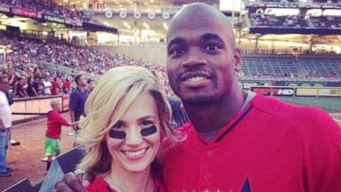 January Jones Snaps a Selfie with Adrian Peterson