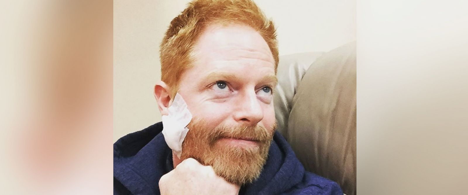 """PHOTO: Jesse Tyler Ferguson posted this image with the caption, """"Thank you to Dr. Bennett & his entire team for taking the cancer out of my face. Good luck hiding the stitches tomorrow @modernfamily_makeuphair!,"""" Dec. 8, 2015."""