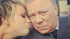 Kaley Cuoco Puckers Up for William Shatner
