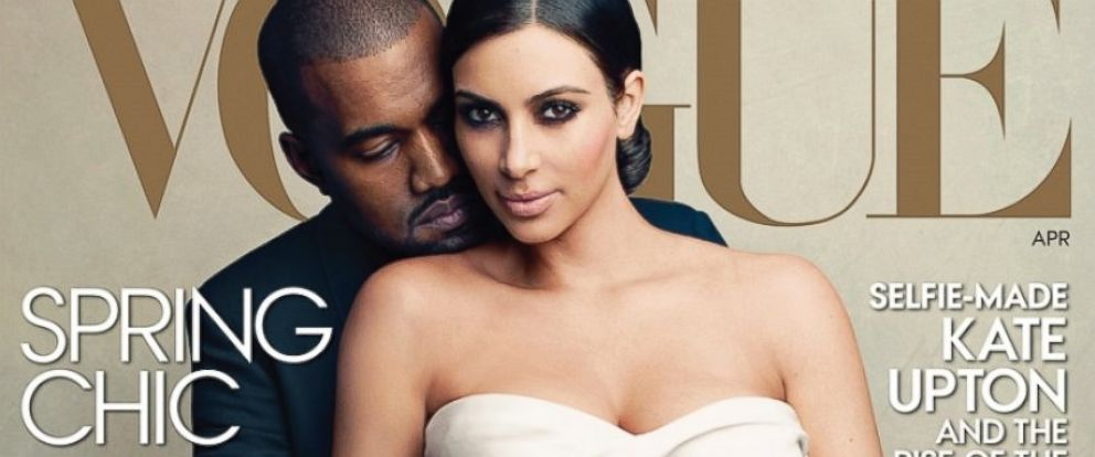 PHOTO: Kanye West and Kim Kardashian on the cover of the April issue of Vogue.