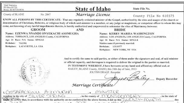 HT kerry washington marriage license tk 130703 16x9 608 Kerry Washington Marries NFL Star Nnamdi Asomugha