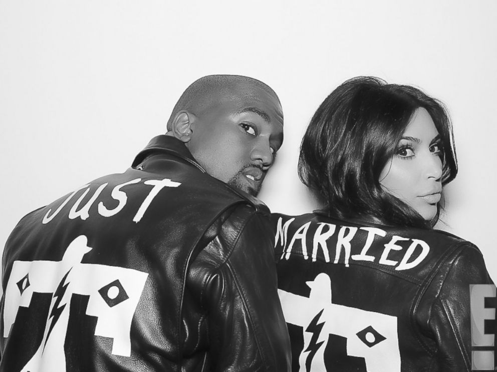 PHOTO: Kanye West and Kim Kardashian wear matching jackets shortly after their nuptials took place at Forte di Belvedere in Florence, Italy, May 24, 2014.