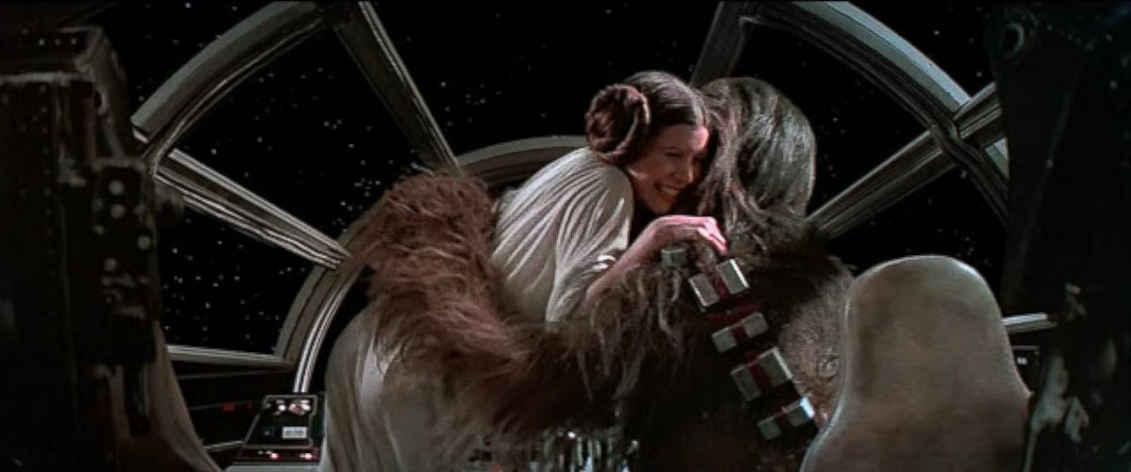PHOTO: Princess Leia hugs Chewbacca in the original Star Wars, 1977.
