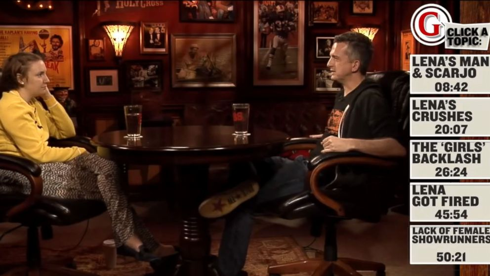"PHOTO: Lena Dunham speaks with Grantlands Bill Simmons on an episode of the ""B.S. Report."""