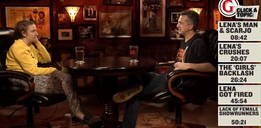 """PHOTO: Lena Dunham speaks with Grantlands Bill Simmons on an episode of the """"B.S. Report."""""""