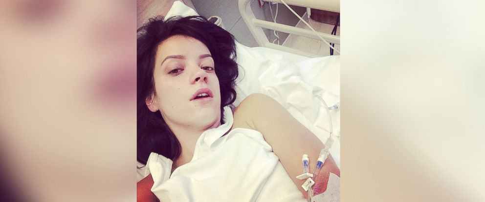 PHOTO: Lilly Allen posted this picture of herself in a hospital bed to Instagram, May 8, 2014.