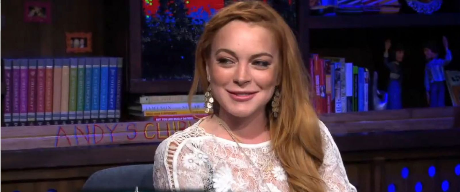 """PHOTO: Lindsay Lohan reacts to a personal question on """"Watch What Happens Live,"""" April 17, 2014."""