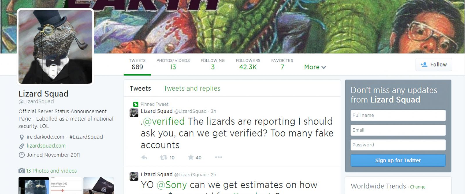 PHOTO: The hacker group Lizard Squad is apparently responsible for several recent high profile hacks.