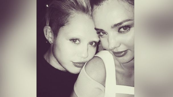 "PHOTO: Miranda Kerr posted this photo on Instagram with this caption, ""Shot by the master @mertalas with the gorgeous @mileycyrus"", Nov. 20, 2013."