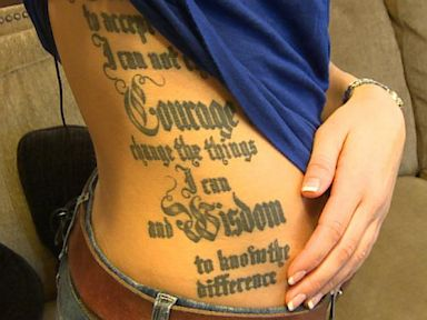 PHOTO: Miss Kansas Theresa Vail shows ABC News 20/20 her side tattoo, which features the text of the serenity prayer.