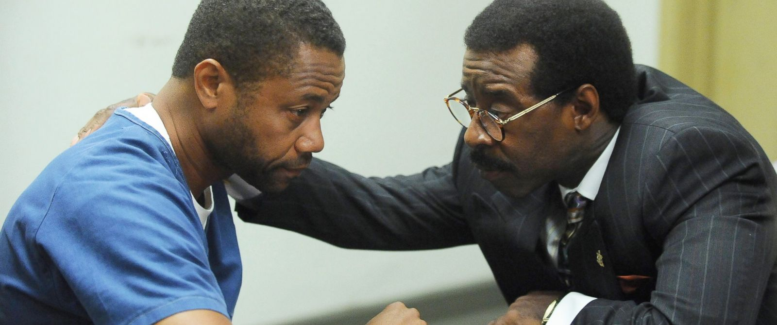 "PHOTO:Cuba Gooding, Jr. as O.J. Simpson and Courtney B. Vance as Johnnie Cochran in a scene from the TV miniseries, ""The People v. O.J. Simpson: American Crime Story."""