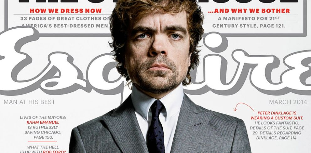 PHOTO: Peter Dinklage is featured on the March 2014 cover of Esquire.