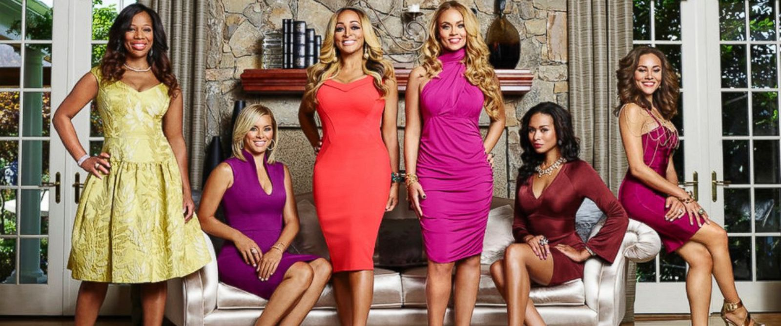 "PHOTO: From left, Charrisse Jackson Jordan, Robyn Dixon, Karen Huger, Gizelle Bryant, Katie Rost, Ashley Boalch Darby of ""The Real Housewives of Potomac."""