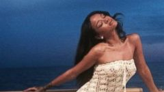 Rihanna Stuns in a Crocheted White Dress