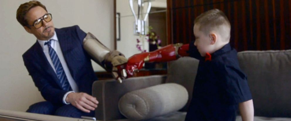 """PHOTO: Robert Downey Jr. participated in a Microsoft Collective Project that presented Albert, who was born with a partial arm, a bionic """"Iron Man"""" arm."""