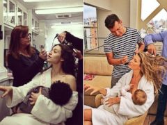 PHOTO: Emmy Rossum posted this photo to Instagram, shown left, with the caption Hey @giseleofficial, I feel ya girl. #kidding #fakebaby #soymilk #shameless in response to a photo that Gisele posted to Instagram, right, on Dec. 10, 2013.