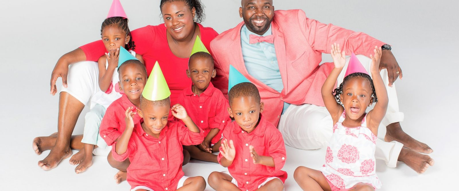 "PHOTO: Mia and Rozonno (Ro) McGhee with the McGhee sextuplets from ""Six Little McGhees"" celebrate their 4th birthday."